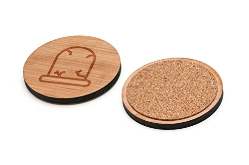 Gravestone Wooden Coasters Set of 4 - Waterproof Coated and Made from USA Premium Cherry Wood. (3.3