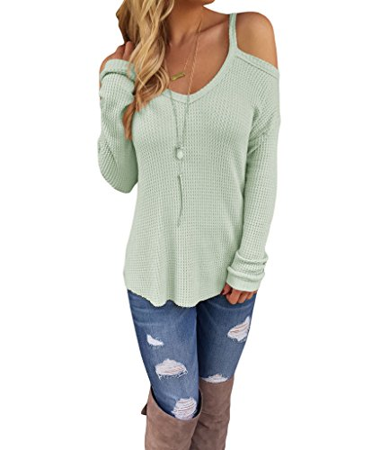 YunJey Womens Shoulder Knitted Sweater