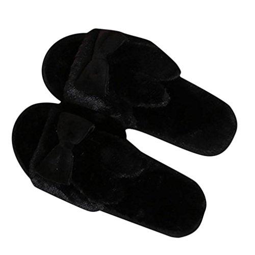 Papillon Pantoufles Lapin Sandales Oreilles Fiasco Antidérapant Chaussures SOMESUN De Famille Faux Pantoufle Flip Des Noir Chaussons Confortable Peluche Noeud Doux Chaud Femme Fourrure qw001SX