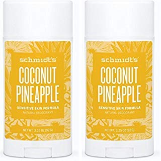 Schmidt's Natural Deodorant - Coconut Pineapple 3.25 Oz Sensitive Skin Stick; Aluminum-Free Odor Protection & Wetness Relief (Pack Of 2)