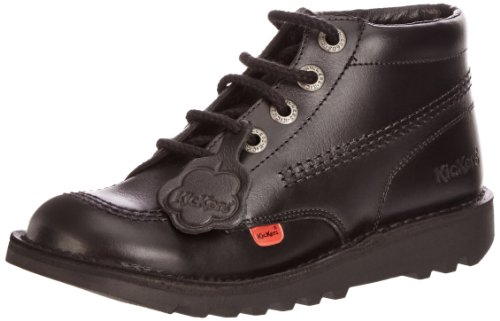 - Kickers Kick Hi Core Youth Black Leather Ankle Boots-UK 3