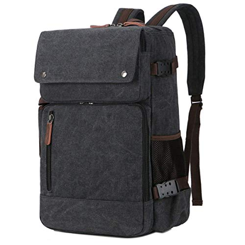 BAOSHA BC-08 3-in-1 Multifunction Men's Briefcase Rucksack Messenger Bag Convertible Vintage Canvas Laptop Backpack 15.6 inch Laptop Bags Handbag Travel Hiking Rucksack (Black) - Tech Leather Backpack