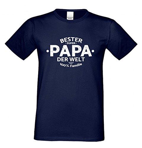 T-Shirt als Geschenk für den Vater - Bester Papa der Welt - Funshirt mit Humor zum Vatertag oder einfach nur so, Größe L Farbe 05-Navy