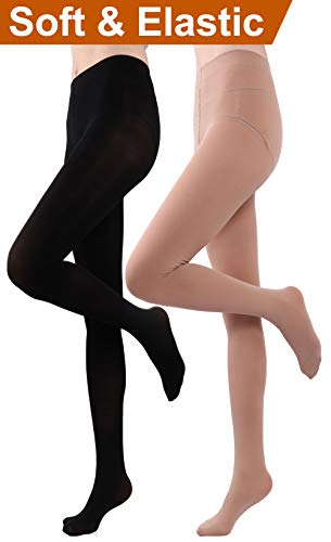 HeyUU Women's Semi Opaque Solid Color Soft Footed Pantyhose Tights 2 Pack (2 Pairs-Black/Beige)