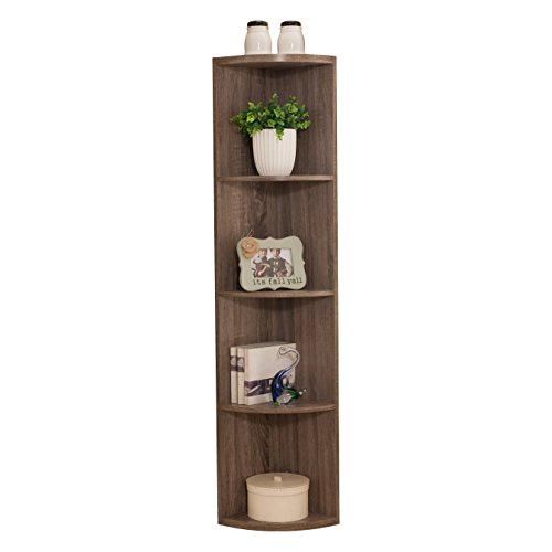 Pilaster Designs - Grey Finish Wood Wall Corner 5 Tier Bookshelf Display Stand by Pilaster Designs
