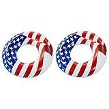 "Swimline 36"" Inflatable American Flag Swimming Pool and Lake Tube Float (2 Pack)"