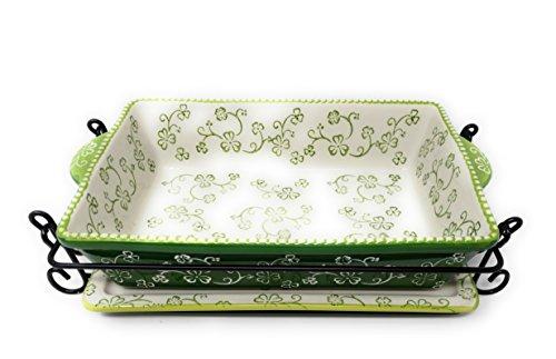 "Temp-tations Baker 2.5 Qt 11""x7"" Casserole Dish w/ Cover, Lid-It, Wire Rack (Floral Lace Shamrock)"