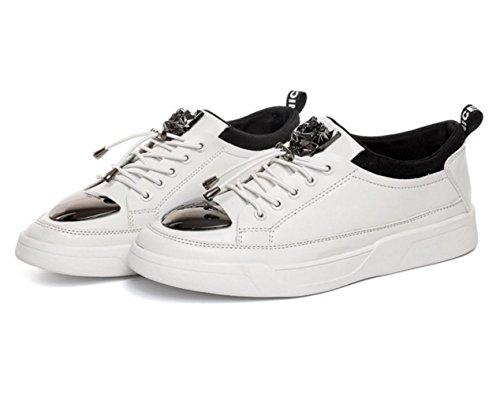WZG Los nuevos hombres para ayudar a los zapatos bajos de chapa de hierro versión coreana de la tendencia de la marea personalidad de la moda de los zapatos deportivos zapatos de los hombres White