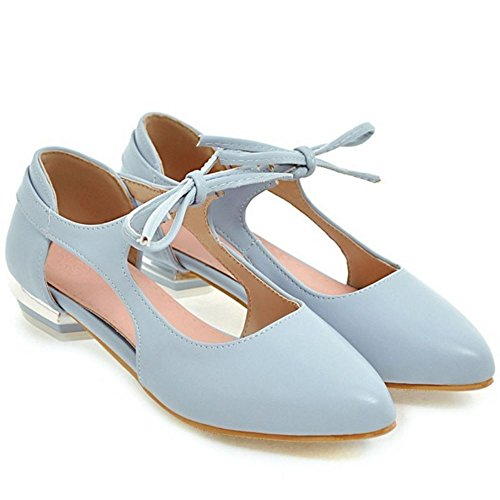 Coolcept Mujer Moda Cordones Sandalias Plano Tacon Poco Cerrado Zapatos Tamano Azul
