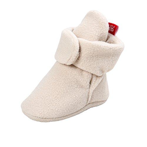 - Kuner Unisex-Baby Newborn Coral Velvet Boots First Walkers Crib Shoes (13cm(12-18months), Khaki)