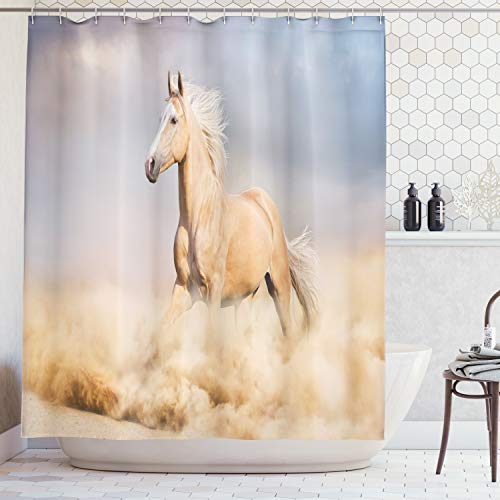 (Ambesonne Animal Decor Shower Curtain Set, Palomino Horse in Sand Desert with Long Blond Male Hair and Tail Power Wild Animal Theme, Bathroom Accessories, 84 Inches Extralong, Purple Grey)