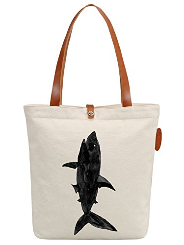 IN.RHAN Women's Shark Graphic Canvas Tote Bag Casual Shoulder Bag Handbag