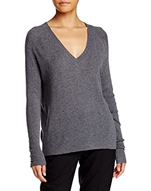 Theory Kommie Pointelle Knit Grey Wool V-Neck Sweater