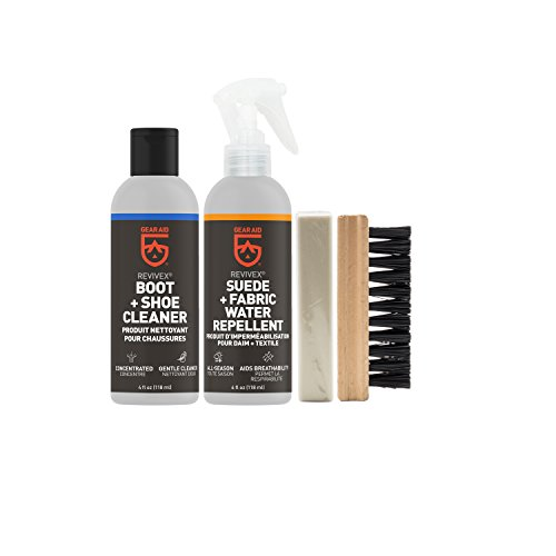 Gear Aid Revivex Suede and Fabric Boot Care Kit with Spray, Cleaner, Brush and - Cleaning Sheepskin Boots