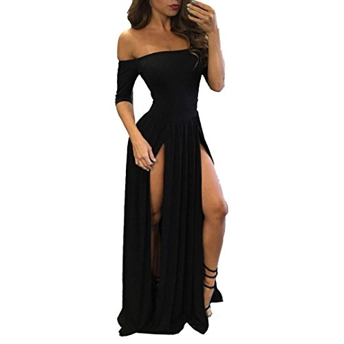Women Sexy Dress Formal Prom Ball Evening Off Shoulder Slit Long Bridesmaid Gown Zulmaliu (Black, ()