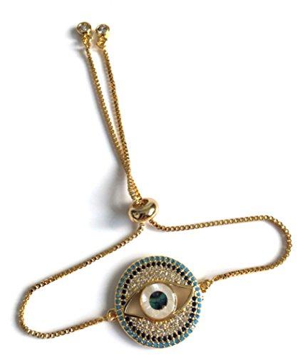 Sliding Bracelets for Women 18k Gold Plated Evil Eye Adjustable Bracelets