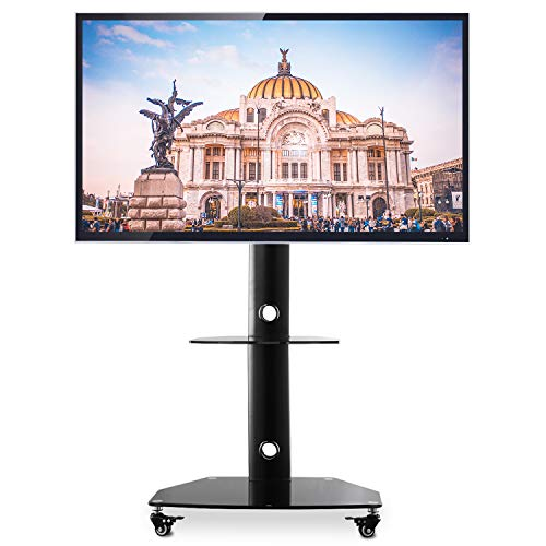 TAVR Portable Mobile TV Stand Rolling TV Cart Floor TV Stand with Swivel Mount on Lockable Wheels Height Adjustable for 27 32 37 42 47 50 55 inch Flat Screen or Curved TV Glass Shelf Black TF9001 from TAVR Furniture