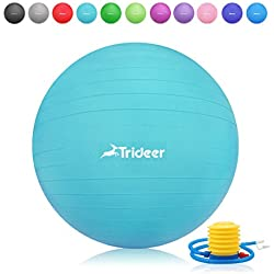 Trideer 55-85cm Exercise Ball, Birthing Fitness Yoga Pilate Balancing Ball with Pump Plug Kit, Anti-Slip & Anti-Burst, 2000lbs Extra Thick Core Cross Training Ball, (Turkis, 65cm)
