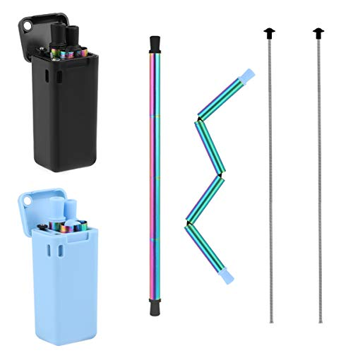 Stainless Steel Rainbow Reusable Straws Keychain Drinking Foldable Straws Dishwasher Safe Folding Collapsible Straw Portable Set with Case&Cleaning Brush&Key Chain(Black&Blue)