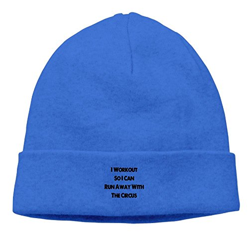 I Workout So I Can Run Away With The Circus New Winter Hats Knitted Twist Cap Thick Beanie Hat Royalblue (Beanie Runaway)