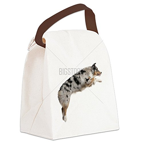 CafePress - Australian Shepherd dog jumping, Canvas Lunch Bag - Canvas Lunch Bag with Strap Handle