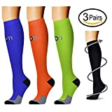 Compression Socks (3 Pairs), 15-20 mmhg is BEST Athletic & Medical for Men & Women, Running, Flight, Travel, Nurses - Boost Performance, Blood Circulation & Recovery (Small/Medium, Assorted 6)