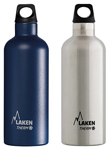 (Laken Bundle - Thermo Futura Vacuum Insulated Stainless Steel Water Bottle Narrow Mouth, 17oz, 2-Pack Blue + Plain)