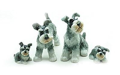 Grandroomchic Animal Miniature Handmade Porcelain Statue Schnauzer Dog Family Figurine Collectibles Gift