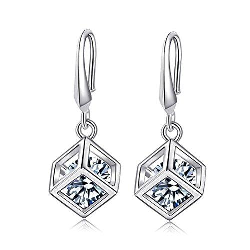 KOREA-JIAEN S925 Sterling Silver Earrings Love Magic Cube Zircon Square Pendant Earrings ()