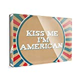 Acrylic Fridge Magnet Kiss Me I m American Fourth of July Vintage Poster Design NEONBLOND