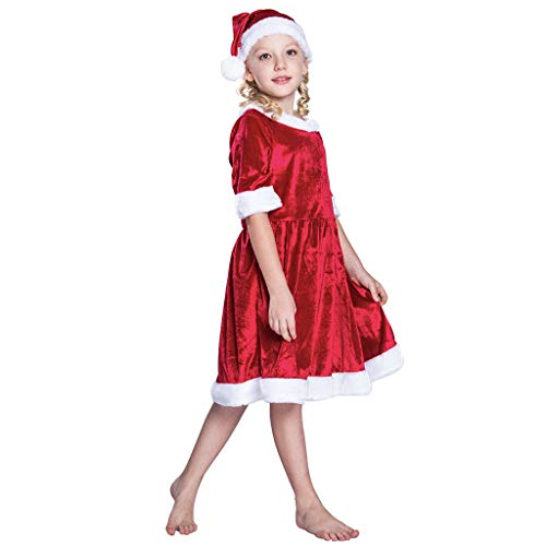 Meeyou Girls Christmas Santa Claus Costume Dress with Hat,Size 130/7-8Y -