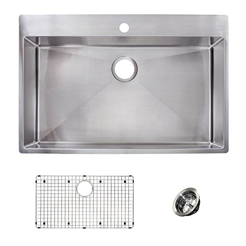 Franke HFS3322-1KIT Vector 33.5 inch (33 inch) Handmade Dual Mount Single Bowl deep Kit Stainless Steel Kitchen Sink, 33-in x 22-in x - Half Bowl Sink Undermount