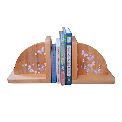 Personalized Butterflies lavender Natural Childrens Wooden Bookends by MyBambino
