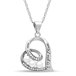 """925 Sterling Silver Elegant Mother Necklace Silver Heart Necklace for Mom Engraved """"I Love you Mom"""" Silver Heart Pendant for Mother Simulated Shell Pearl Necklaces 16inch + 2"""" Ext w Clasp"""