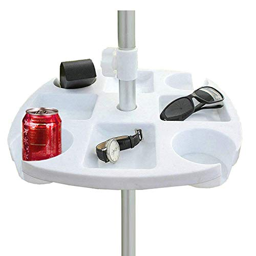 AMMSUN Plastic Beach Umbrella Table with 4 Cup Holders, White (17 Inch, White)
