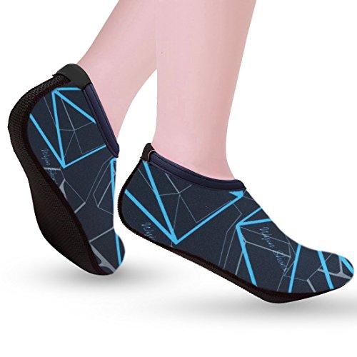 Nlife Barfuß Wasser Schuhe Aqua Socken für Beach Surf Pool schwimmen Yoga Aerobic (Männer & Frauen, M-XXL) Marineblau 2