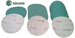 "Oslong Abrasives 400-Grit L338 6"" Hook & Loop Green Film Sanding Discs, Box of 100"