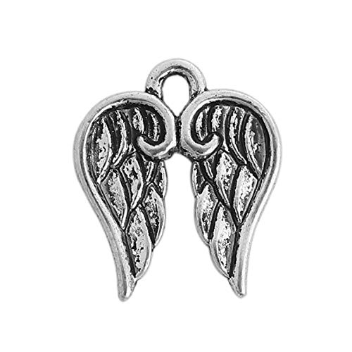 PEPPERLONELY 50pc Antiqued Silver Alloy Wing Charms Pendants 17x14mm (5/8
