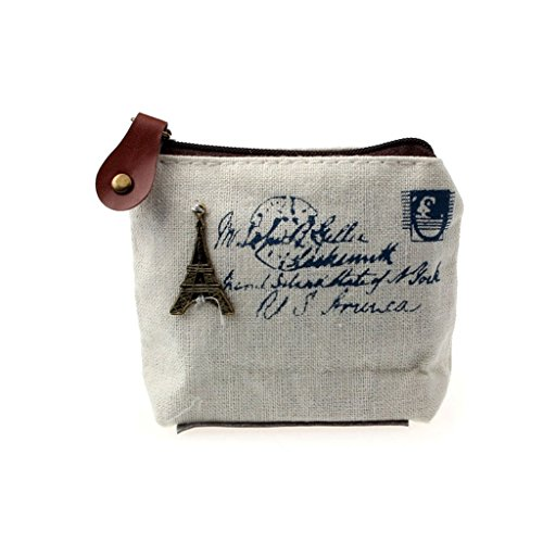 FitfulVan Clearance! Hot sale! Bags, FitfulVan Girl Retro Coin Bag Purse Wallet Card Case Handbag Gift Eiffel Tower (White)