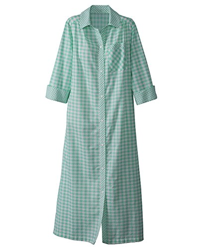 National Plisse Checked Snap-Front Housecoat, Green, Medium - Lady Housecoat