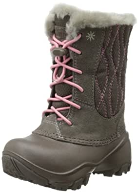 Columbia Snow Canyon Omni-Heat Waterproof Bungee and Toggle Winter Boot,Mud/Coral Pink,13 M US Little Kid