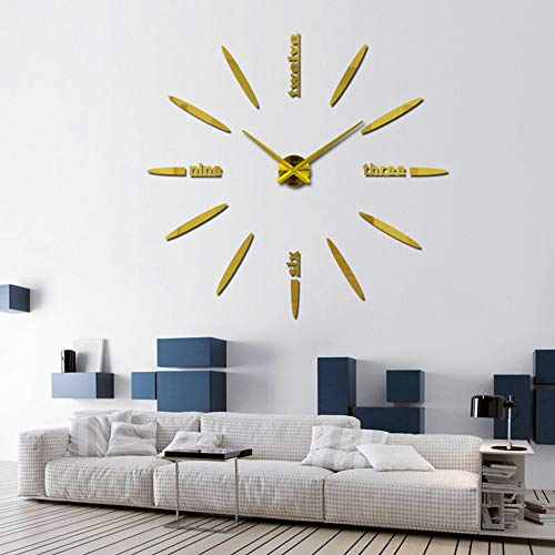 Lantern Mantle Clock - Wall Clock, Elevin(TM) Modern Large 3D DIY Mirror Surface Art Wall Clock Sticker Home Office Room Decor (Gold)