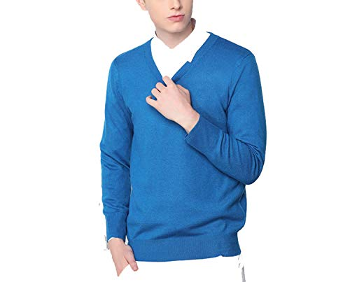 Men's Cashmere Wool Knitted Sweater V-Neck Brand Solid Color Men Pullovers Male Vintage 3 Sea Blue M ()