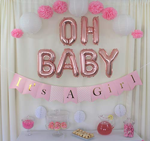 Baby Shower Decorations for Girl, Pink and Gold Baby Shower Decorations, It's a Girl Banner, Oh Baby Balloons Rose Gold Foil, Paper Lanterns, Tissue Paper Pompoms, Honeycombs, Pink Baby Shower Decor]()