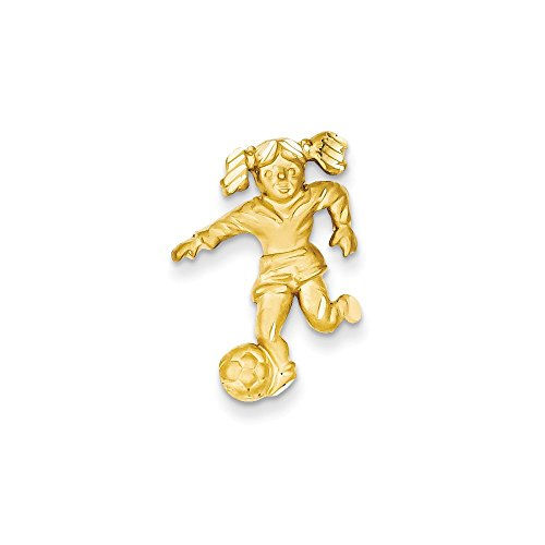 (Jewelry Pendants & Charms Themed Charms 14k Solid Satin Diamond-cut Open-Backed Girl Soccer Player Charm)