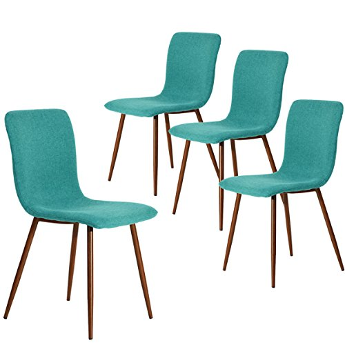 Coavas Dining Chairs Set of 4, Kitchen Chairs with Fabric Cushion Seat Back, Modern Mid Century Living Room Side Chairs with Sturdy Metal Legs for Kitchen Dining Room,Green