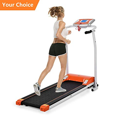 1.5 HP Mini Folding Electric Support Motorized Power Running Fitness Jogging Incline Machine Equipment Treadmill for Home Indoor Gym (Orange)