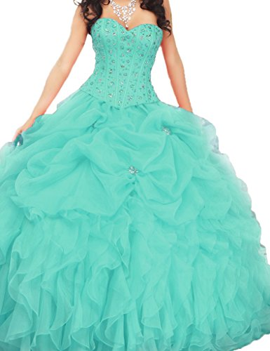 Asbridal Sweetheart Ruched Beading Quinceanera Dresses Prom Ball Gowns Turoquoise Us 6