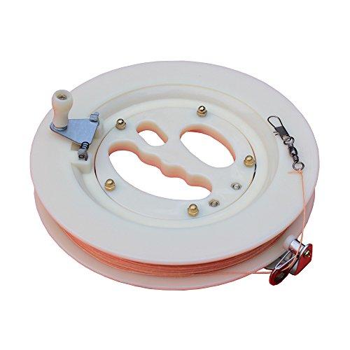 Hengda Kite Professional Color Kite Ballbearing Reel Line Winder Grip Wheel + 200M Tire Line With Lock-White
