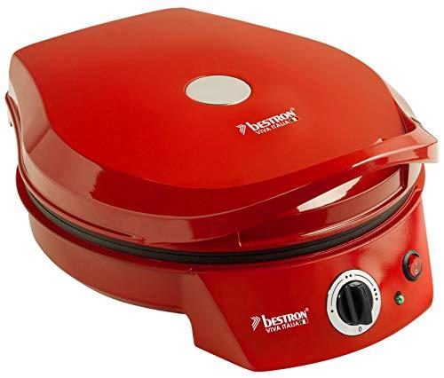 Bestron Horno Grill Eléctrico para Pizza, Viva Italia, Calor Superior e Inferior, Hasta 180°C, 1800 W, Rojo